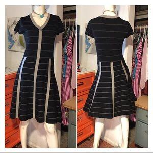 Striped fit n Flare Medium Knit Sweater Dress